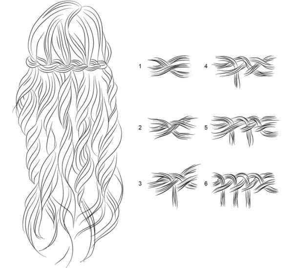 Плетение волос - французский водопад