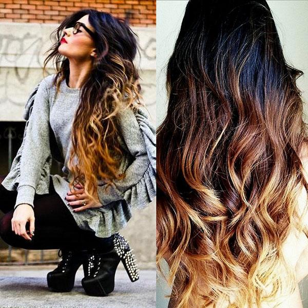 Омбре на длинных волосах