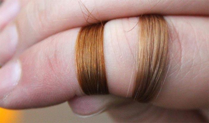 Осветление волос перекисью на одной пряди