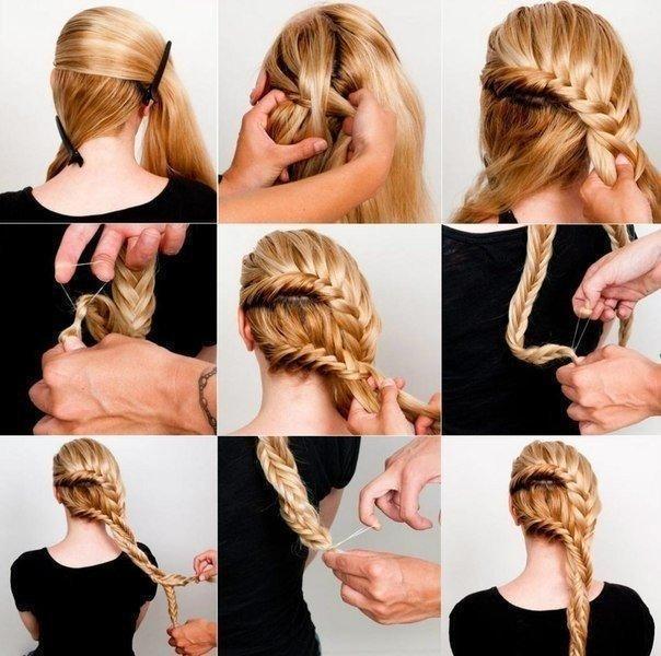 Как собрать волосы в красивое плетение