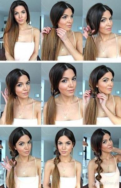 Прическа для длинных волос красивый хвост за 10 минут