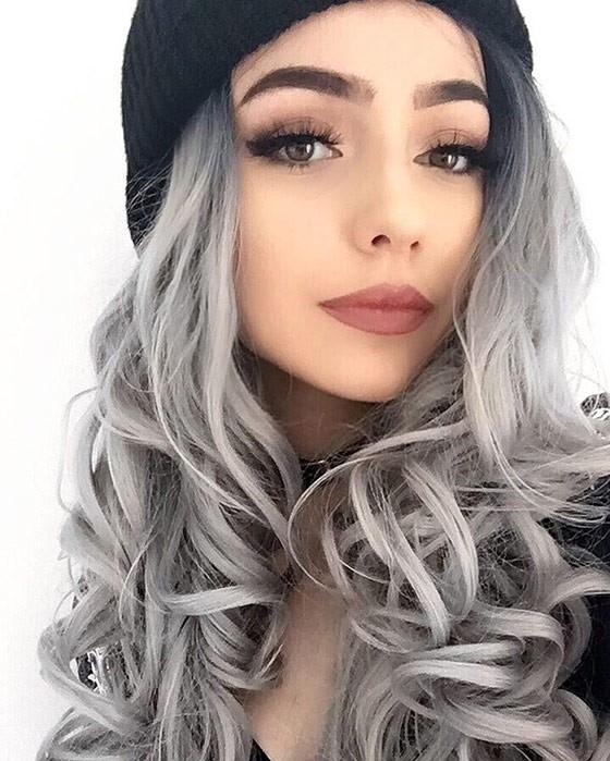Холодный светлый серый цвет волос
