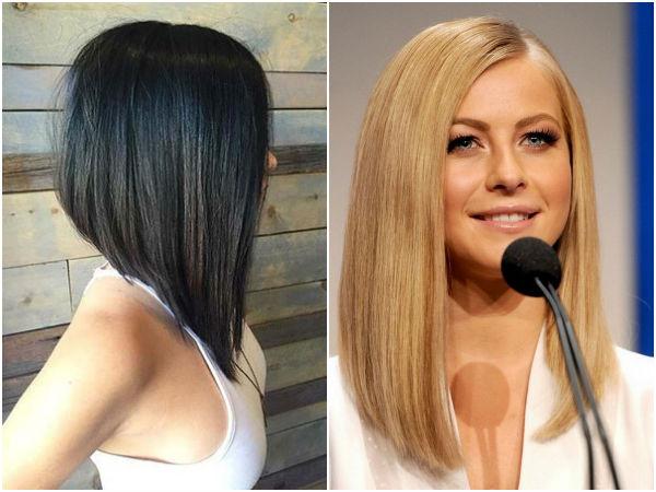 Стрижка удлиненное каре на средние волосы с челкой фото
