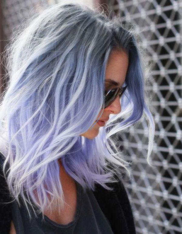 Фиолетовые волосы с серой основой фото