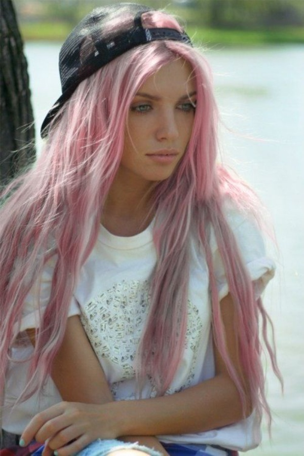 Нереально красивые серые волосы с розовыми прядями