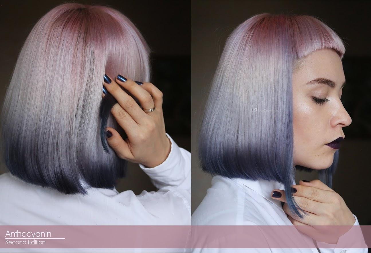Фото каре окрашенного в пепельно-лиловые цвета с плавным переходом