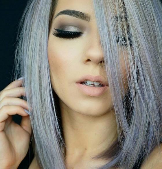 Окрашивание в серый с фиолетовым оттенком