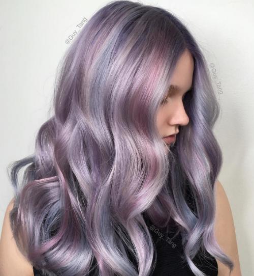 Волосы серебристо-фиолетового цвета красивые фото