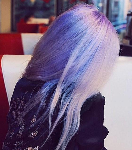 Длинные серо фиолетовые волосы