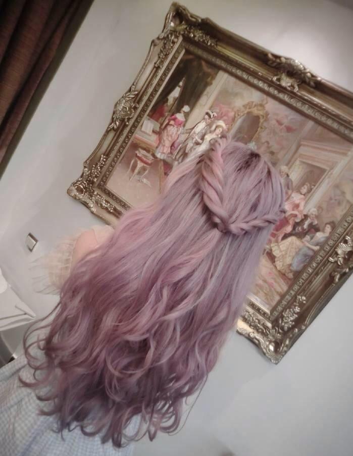 Окрашивание влос в серый цвет с розовым оттенком