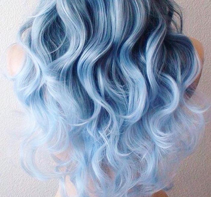 Фото серо-голубых волос с серым цветом
