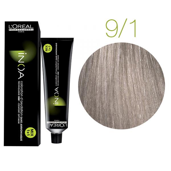 Краска серого цвета для волос INOA_9.1