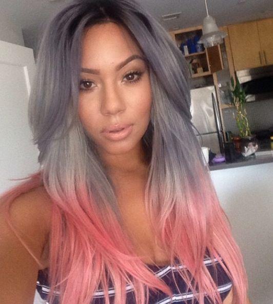Серебристый цвет волос с розовыми кончиками фото