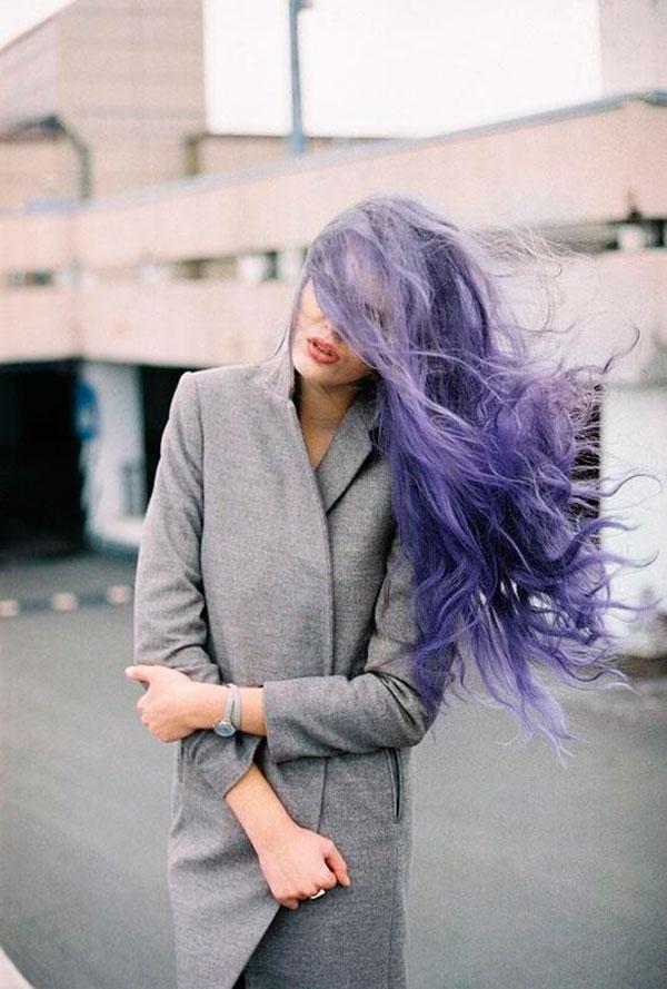 Окрашивание волос в серо фиолетовый цвет длинные волосы