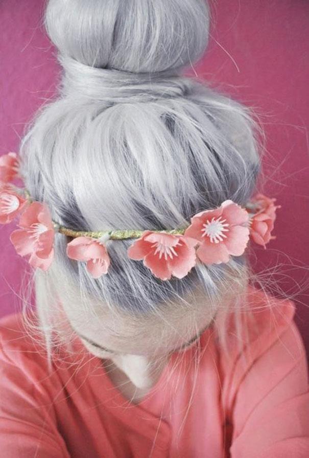 Интересный серый цвет волос