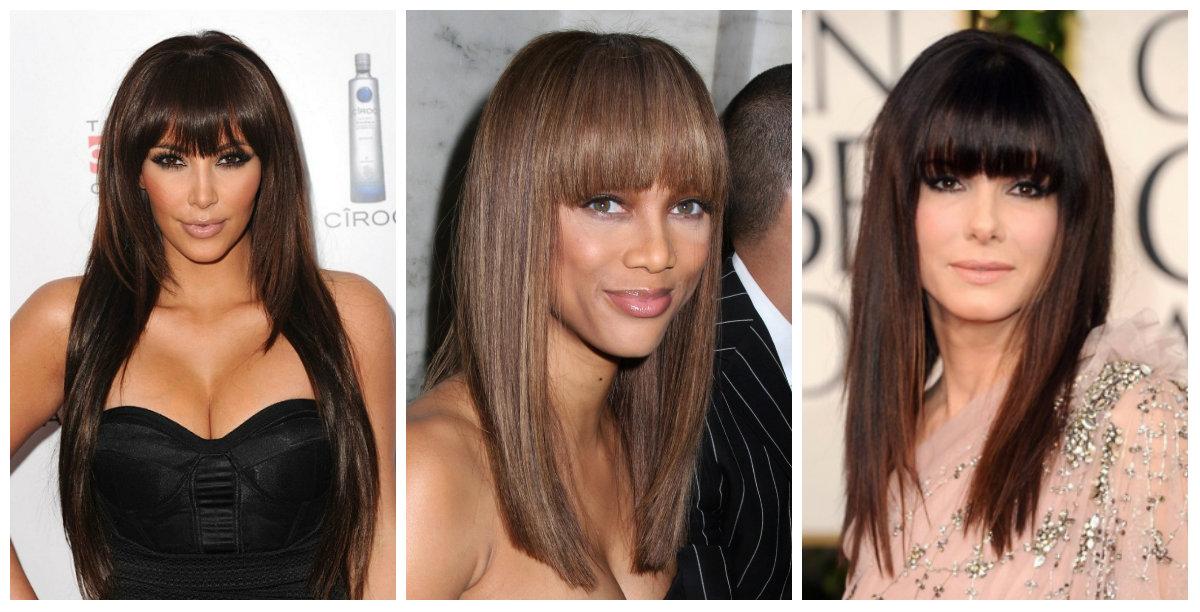 Укладка прямых волос с челкой