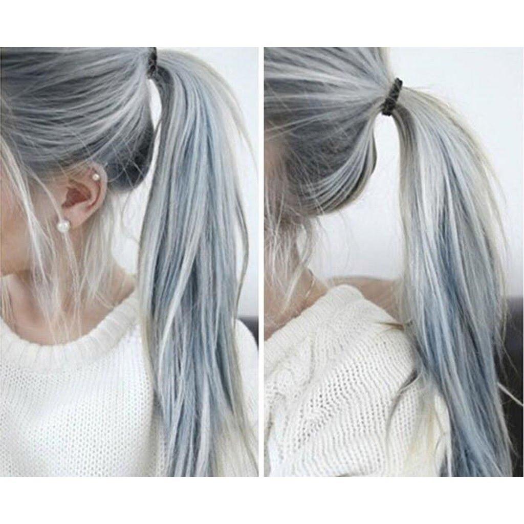 Фиолетовый оттенок на серых волосах