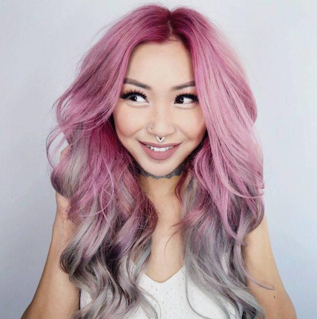 Окрашивание волос в серых тонах с добавлением пурпурного