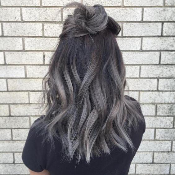 Сомбре в темных серых тонах на волосы средней длинны фото окрашивания