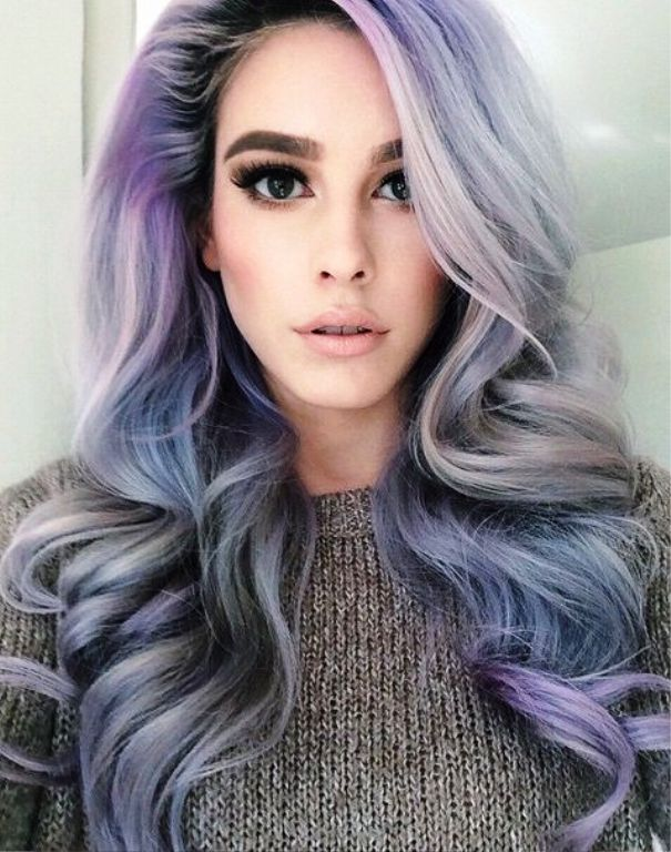 Фото окрашивания волос в пепельно серый цвет с фиолетовым