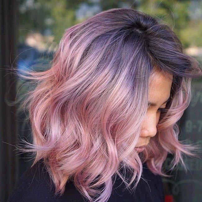 Фото каре с серым цветом и розовыми концами
