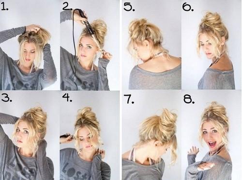 Творческий беспорядок гулька для коротких волос на каждый день