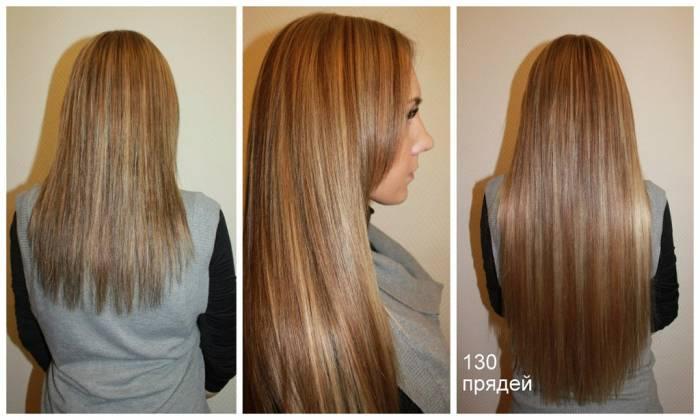 Наращивание волос из 130 прядей