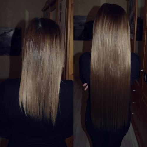 Капсульное наращивание на темные волосы фото
