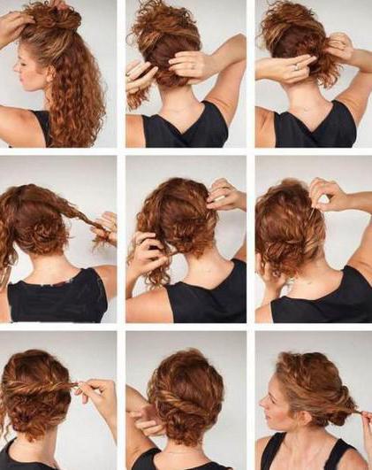 Кудрявый пучек для кучерявых волос фото по шагам