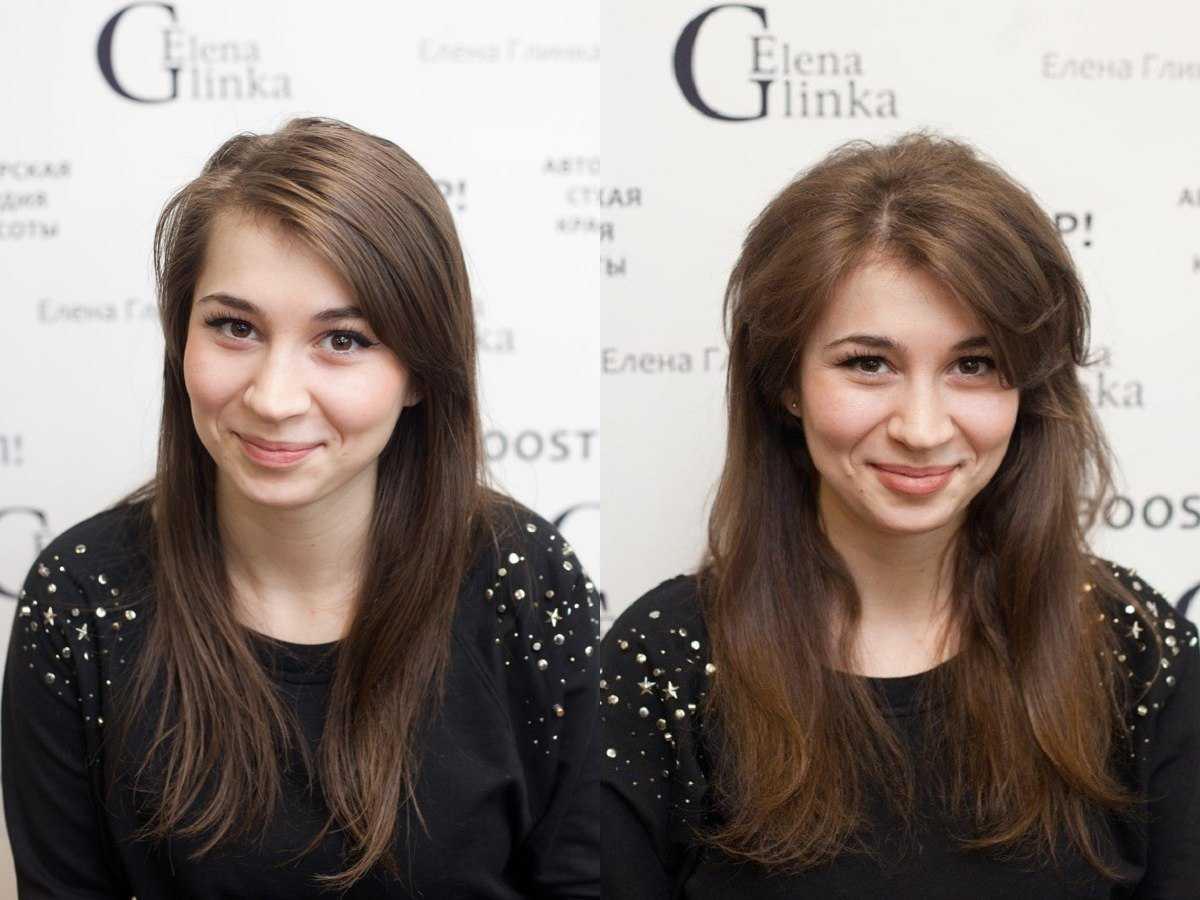 Объем буст ап на темных волосах фото