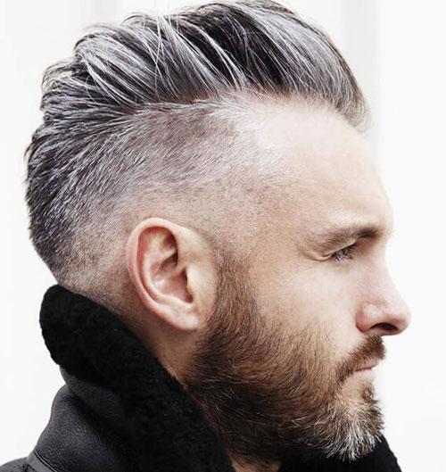 Стрижка с выбритыми висками и бородой фото