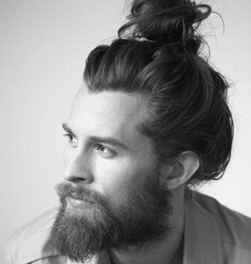 Длинные волосы с отросшей бородой фото
