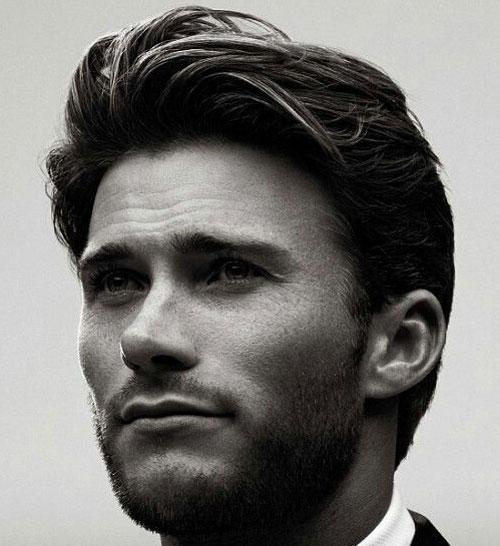 Брутальная укладка челки с красиво выстриженной бородой