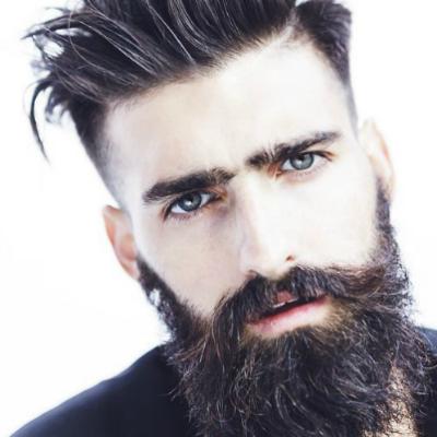 Длинная мужская борода с длинной челкой фото