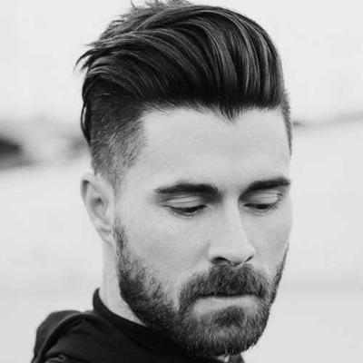 Стрижка бороды с длинной челкой фото