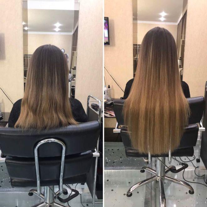 Наращивание капсулами на волосы средней длины фото