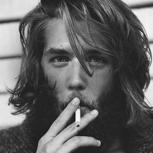 Борода с усами и длинными волосами фото